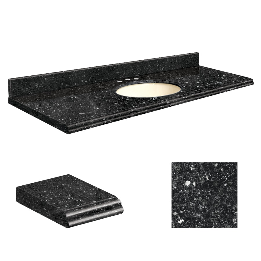 Transolid Notte Black Quartz Undermount Single Sink Bathroom Vanity Top (Common: 61-in x 22-in; Actual: 61-in x 22.25-in)