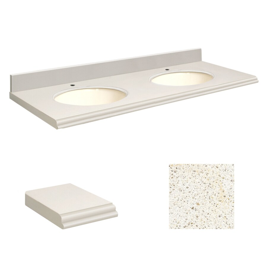Transolid Milan White Quartz Undermount Double Sink Bathroom Vanity Top (Common: 61-in x 22-in; Actual: 61-in x 22.25-in)