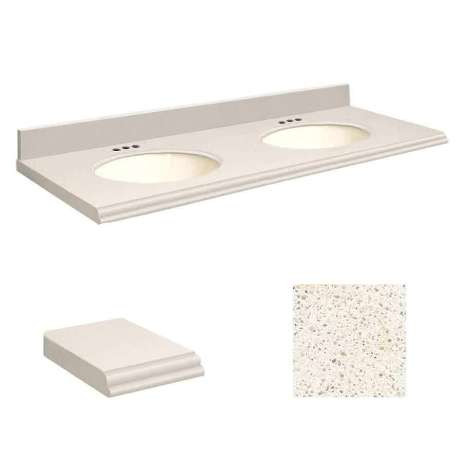 Transolid Milan White Quartz Undermount Double Sink Bathroom Vanity Top (Common: 61-in x 22-in; Actual: 61-in x 22.25-in)