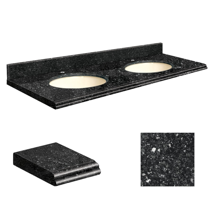 Transolid Notte Black Quartz Undermount Double Sink Bathroom Vanity Top (Common: 61-in x 22-in; Actual: 61-in x 22.2500-in)