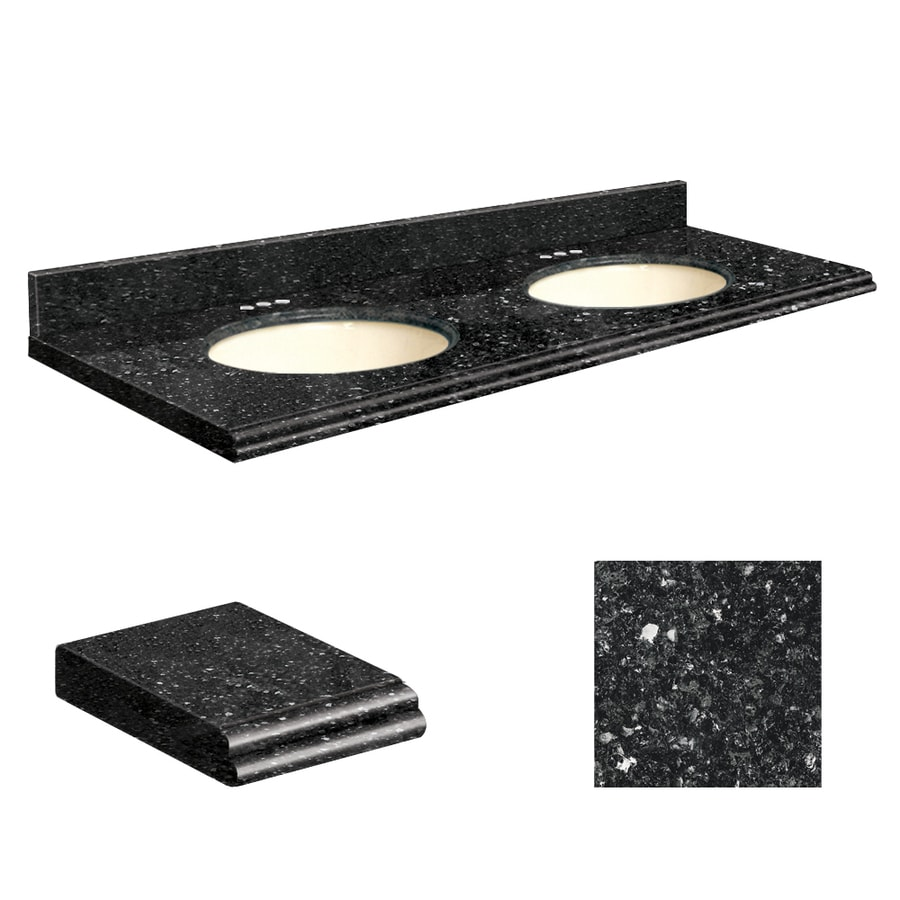 Transolid Notte Black Quartz Undermount Double Sink Bathroom Vanity Top (Common: 61-in x 22-in; Actual: 61-in x 22.25-in)