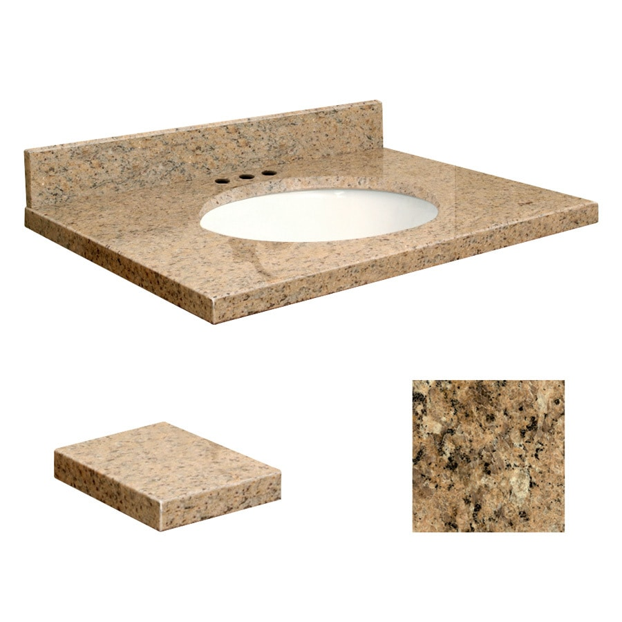 Transolid Giallo Veneziano Granite Undermount Single Sink Bathroom Vanity Top (Common: 25-in x 19-in; Actual: 25-in x 19.2500-in)