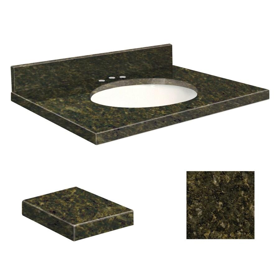 Transolid Uba Verde Granite Undermount Single Sink Bathroom Vanity Top (Common: 25-in x 19-in; Actual: 25-in x 19.25-in)