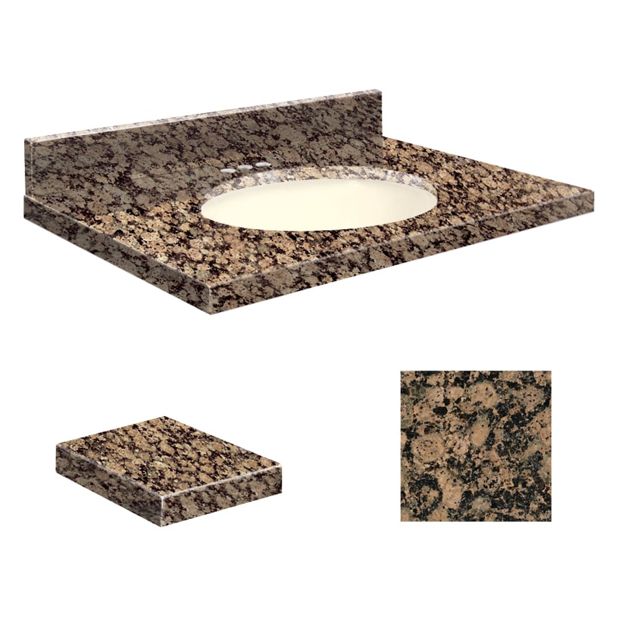 Transolid Baltic Brown Granite Undermount Single Sink Bathroom Vanity Top (Common: 25-in x 19-in; Actual: 25-in x 19.25-in)