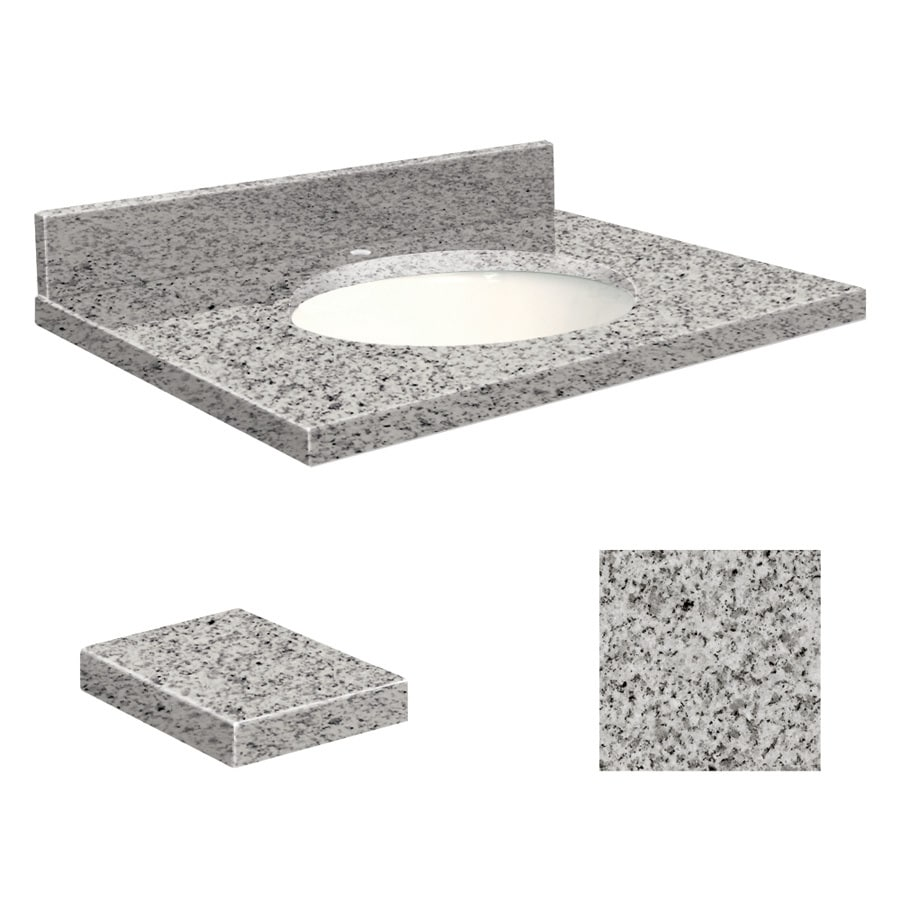 Transolid Rosselin White/Gray Granite Undermount Single Sink Bathroom Vanity Top (Common: 25-in x 19-in; Actual: 25-in x 19.25-in)