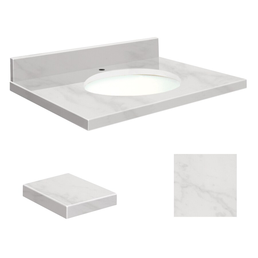 Transolid White Natural Marble Undermount Single Sink Bathroom Vanity Top (Common: 25-in x 19-in; Actual: 25-in x 19.25-in)