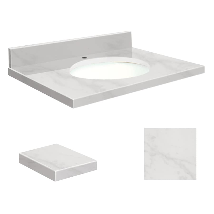 Transolid White Marble Natural Marble Undermount Single Sink Bathroom Vanity Top (Common: 25-in x 19-in; Actual: 25-in x 19.2500-in)