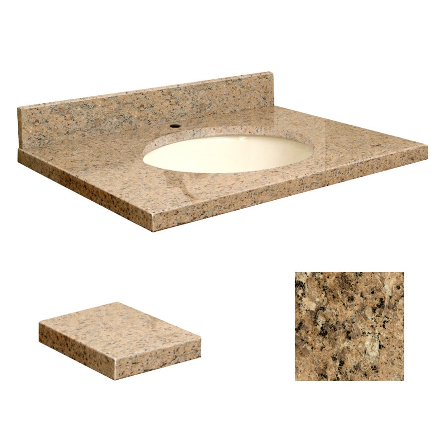 Transolid Giallo Veneziano Granite Undermount Single Sink Bathroom Vanity Top (Common: 25-in x 22-in; Actual: 25-in x 22.25-in)