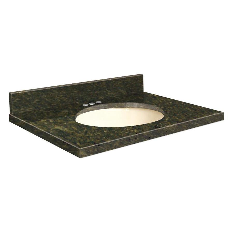 Transolid Uba Verde Granite Undermount Single Sink Bathroom Vanity Top (Common: 25-in x 22-in; Actual: 25-in x 22.25-in)