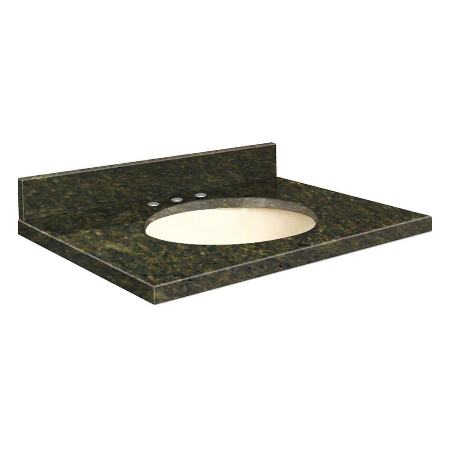 Transolid Uba Verde Granite Undermount Single Sink Bathroom Vanity Top (Common: 25-in x 22-in; Actual: 25-in x 22.2500-in)