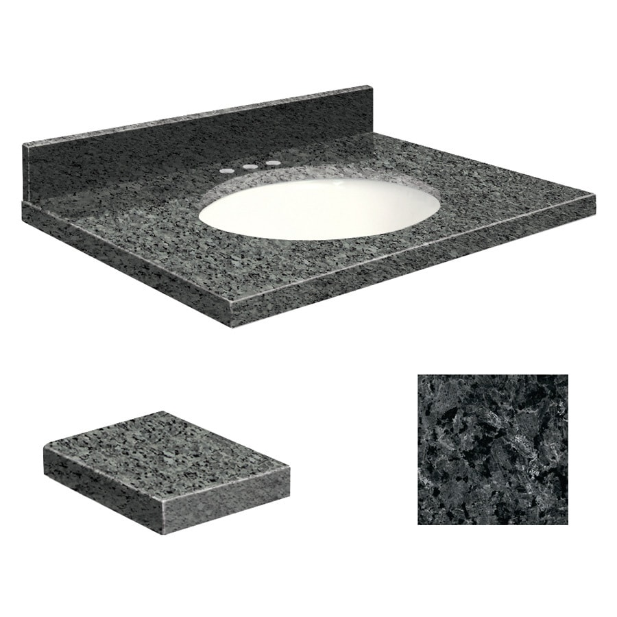 Transolid Blue Pearl Granite Undermount Single Sink Bathroom Vanity Top (Common: 25-in x 22-in; Actual: 25-in x 22.25-in)