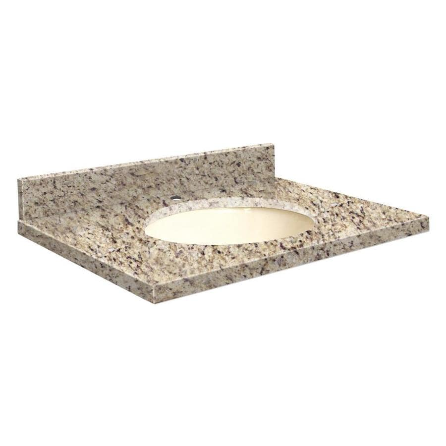 Transolid Giallo Ornamental Granite Bathroom Vanity Top (Common: 25-in x 22-in; Actual: 25-in x 22.25-in)