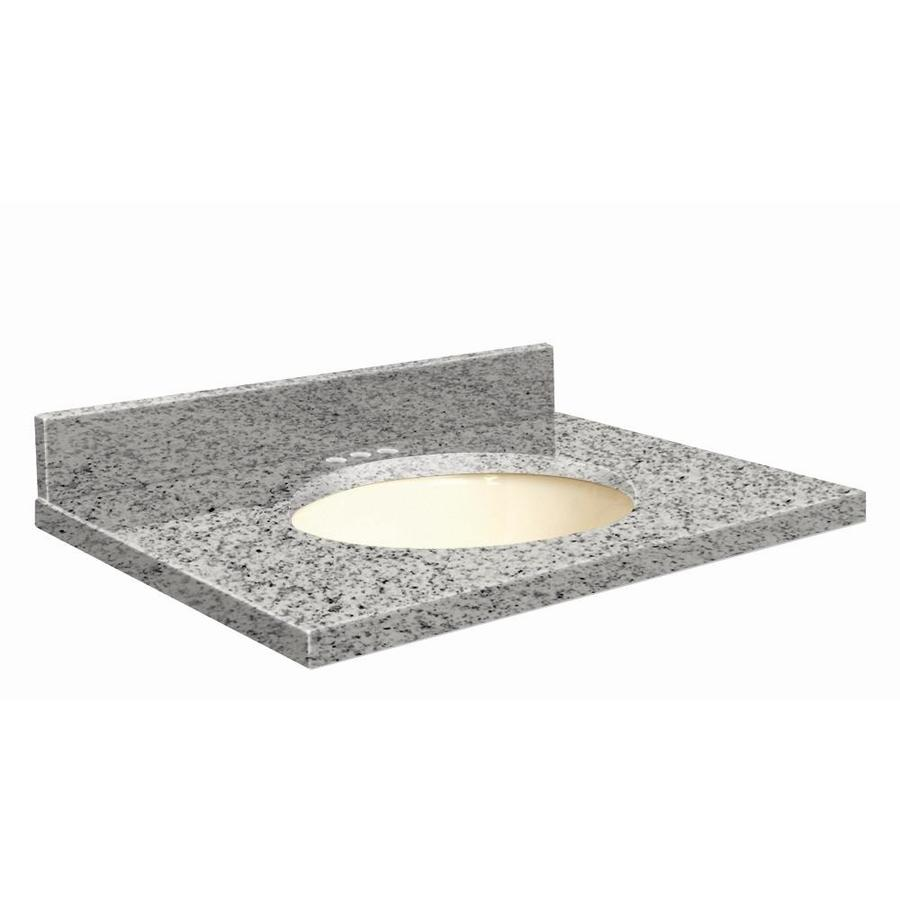 Transolid Rosselin White Granite Undermount Single Sink Bathroom Vanity Top (Common: 25-in x 22-in; Actual: 25-in x 22.25-in)