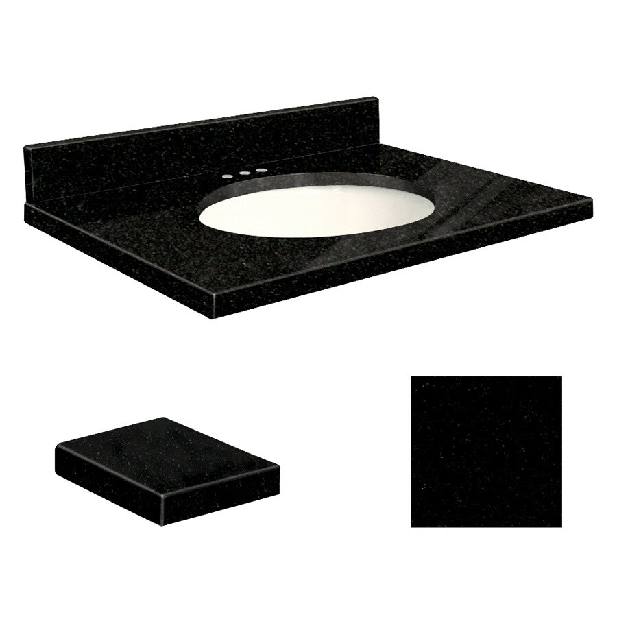 Transolid Absolute Black Granite Undermount Single Sink Bathroom Vanity Top (Common: 25-in x 22-in; Actual: 25-in x 22.25-in)