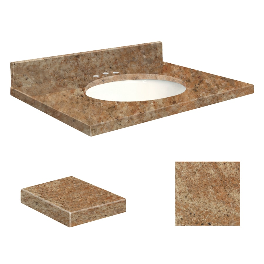 Transolid India Gold Granite Undermount Single Sink Bathroom Vanity Top (Common: 25-in x 22-in; Actual: 25-in x 22.25-in)