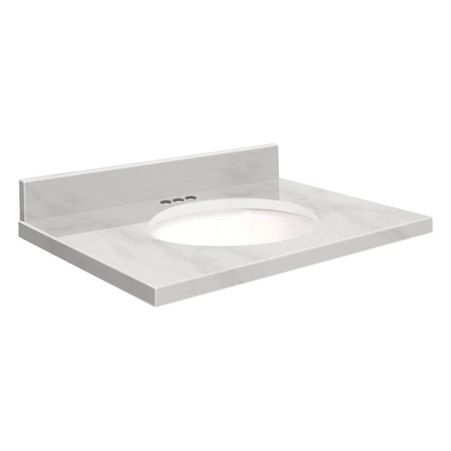 Transolid White Natural Marble Undermount Single Sink Bathroom Vanity Top (Common: 25-in x 22-in; Actual: 25-in x 22.25-in)