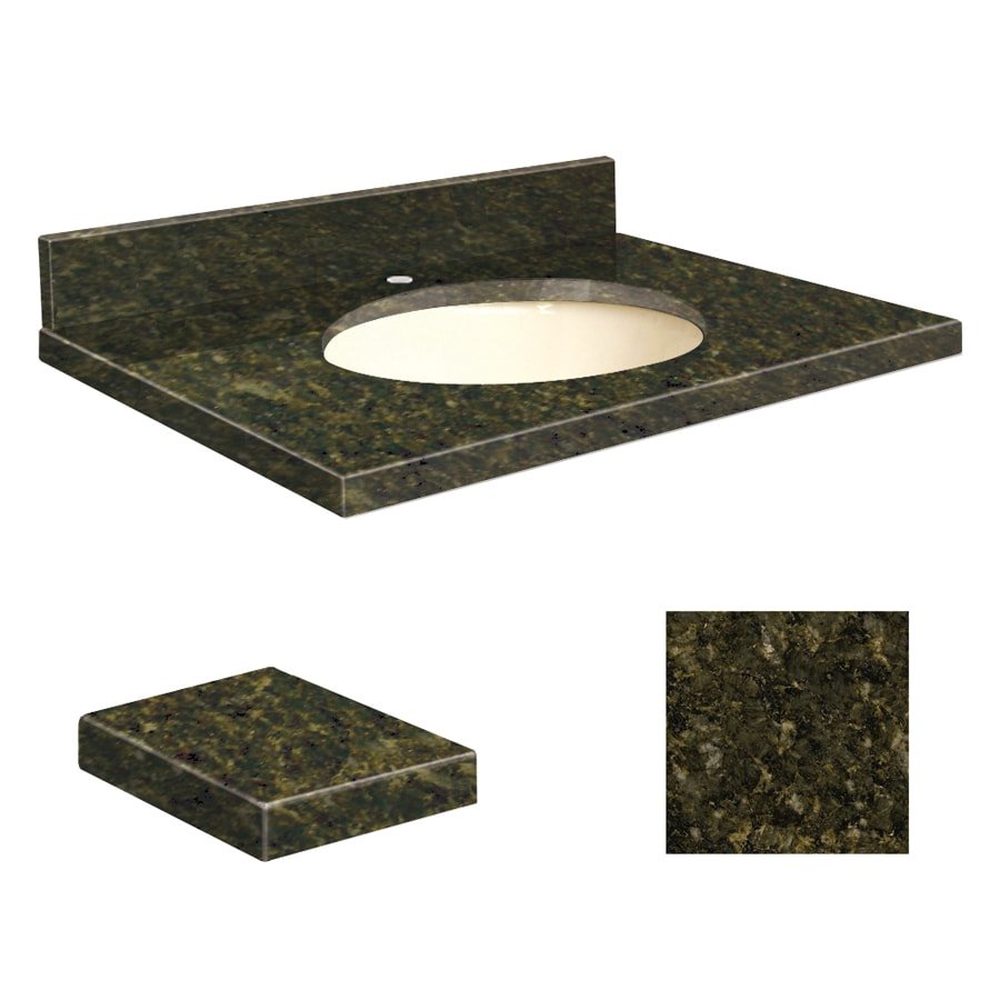 Transolid Uba Verde Granite Undermount Single Sink Bathroom Vanity Top (Common: 31-in x 19-in; Actual: 31-in x 19.25-in)