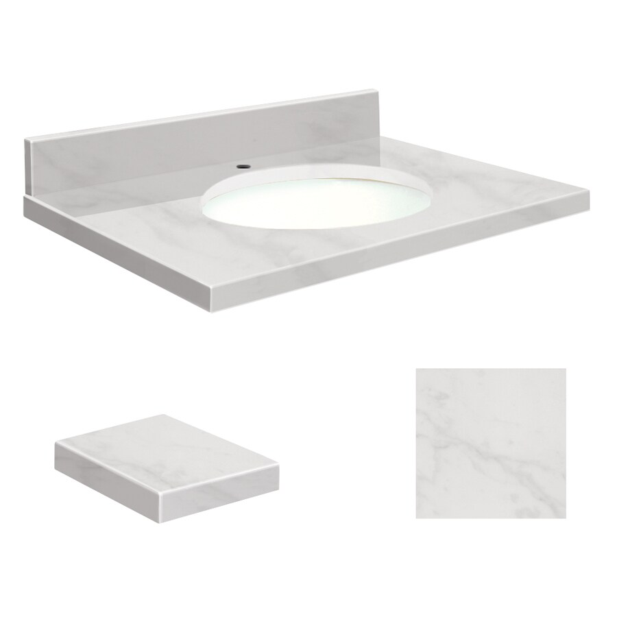 Transolid White Marble Natural Marble Undermount Single Sink Bathroom Vanity Top (Common: 31-in x 19-in; Actual: 31-in x 19.25-in)