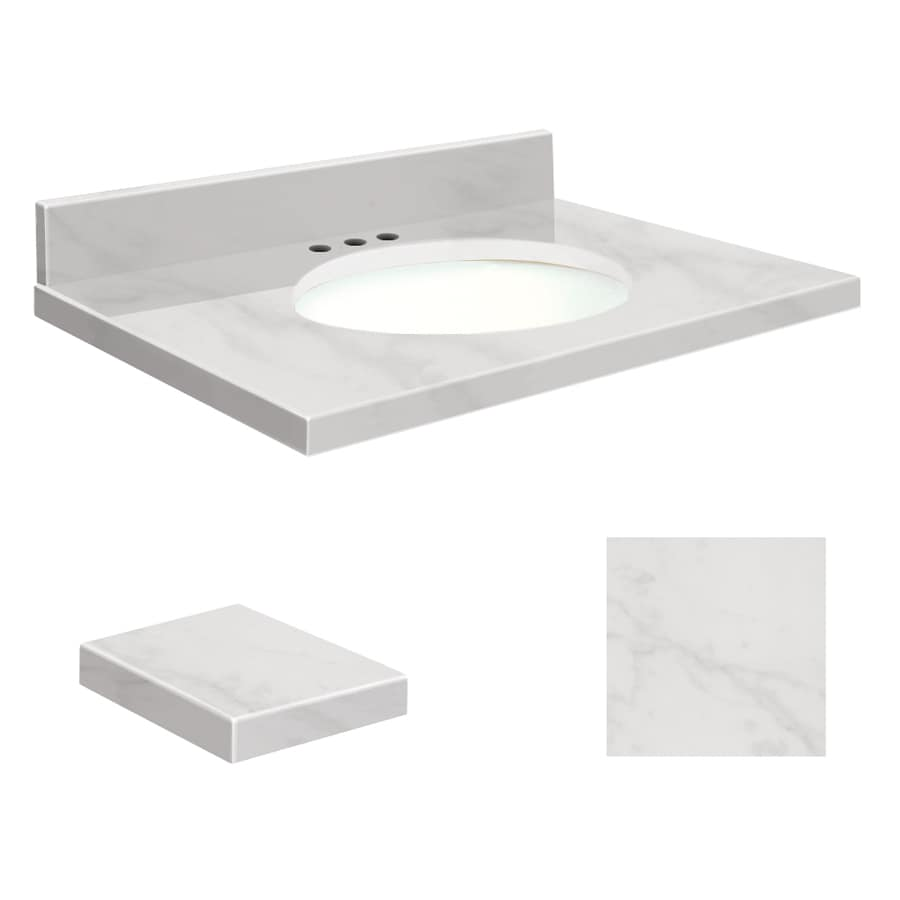 Transolid White Marble Natural Marble Undermount Single Sink Bathroom Vanity Top (Common: 31-in x 19-in; Actual: 31-in x 19.2500-in)