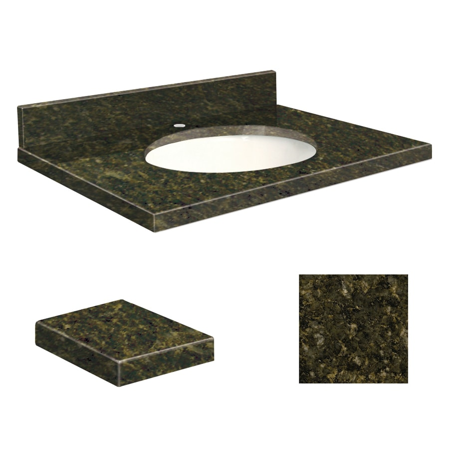 Transolid Uba Verde Granite Undermount Single Sink Bathroom Vanity Top (Common: 31-in x 22-in; Actual: 31-in x 22.25-in)