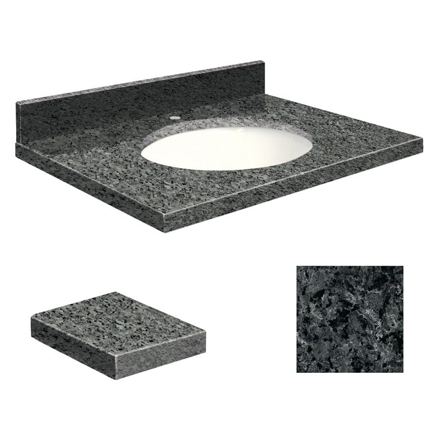 Transolid Blue Pearl Granite Undermount Single Sink Bathroom Vanity Top (Common: 31-in x 22-in; Actual: 31-in x 22.2500-in)