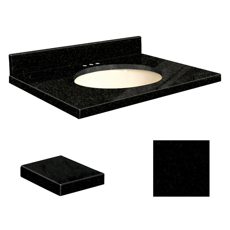 Transolid Absolute Black Granite Undermount Single Sink Bathroom Vanity Top (Common: 31-in x 22-in; Actual: 31-in x 22.25-in)