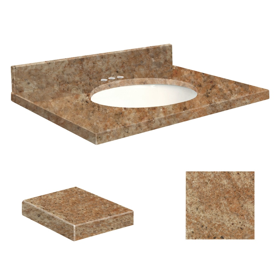 Transolid India Gold Granite Undermount Single Sink Bathroom Vanity Top (Common: 31-in x 22-in; Actual: 31-in x 22.2500-in)