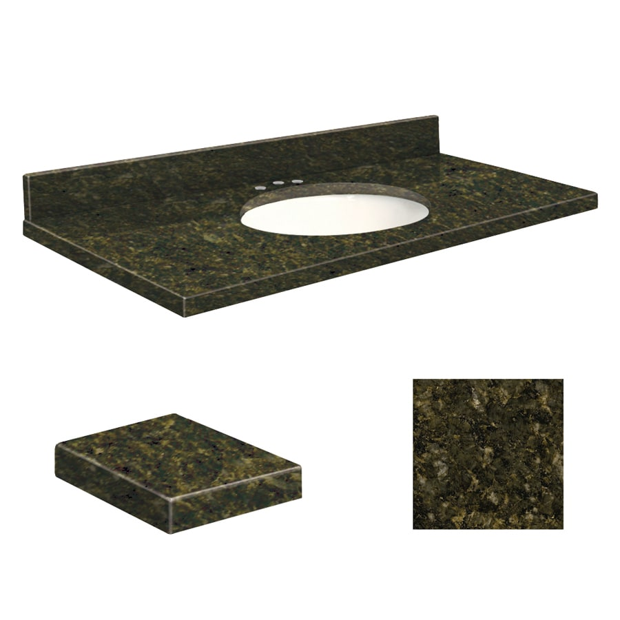 Transolid Uba Verde Granite Undermount Single Sink Bathroom Vanity Top (Common: 37-in x 19-in; Actual: 37-in x 19.25-in)