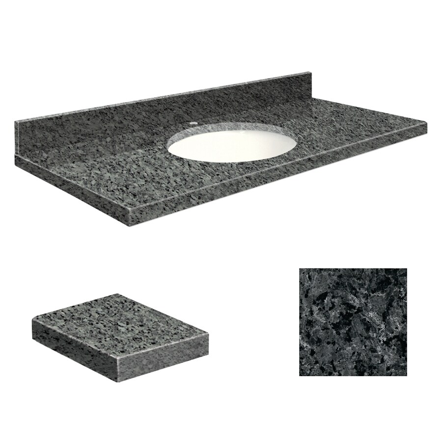 Transolid Blue Pearl Granite Undermount Single Sink Bathroom Vanity Top (Common: 37-in x 19-in; Actual: 37-in x 19.2500-in)