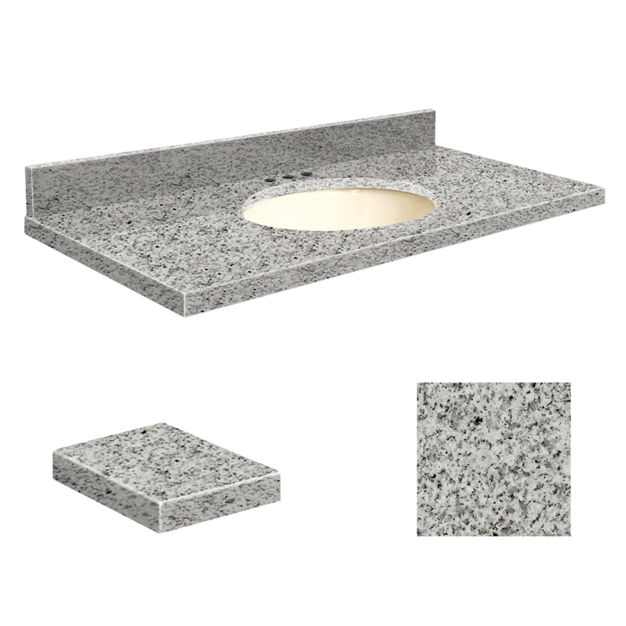 Transolid Rosselin White Granite Undermount Single Sink Bathroom Vanity Top (Common: 37-in x 19-in; Actual: 37-in x 19.25-in)