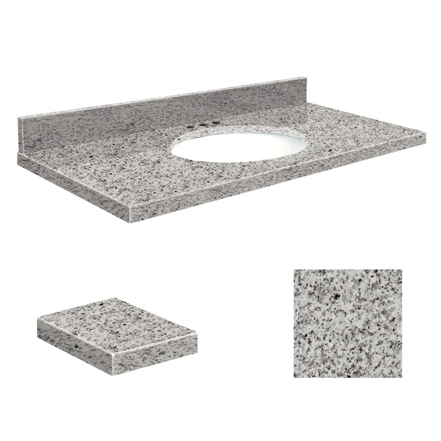 Transolid Rosselin White Granite Undermount Single Sink Bathroom Vanity Top (Common: 37-in x 19-in; Actual: 37-in x 19.2500-in)