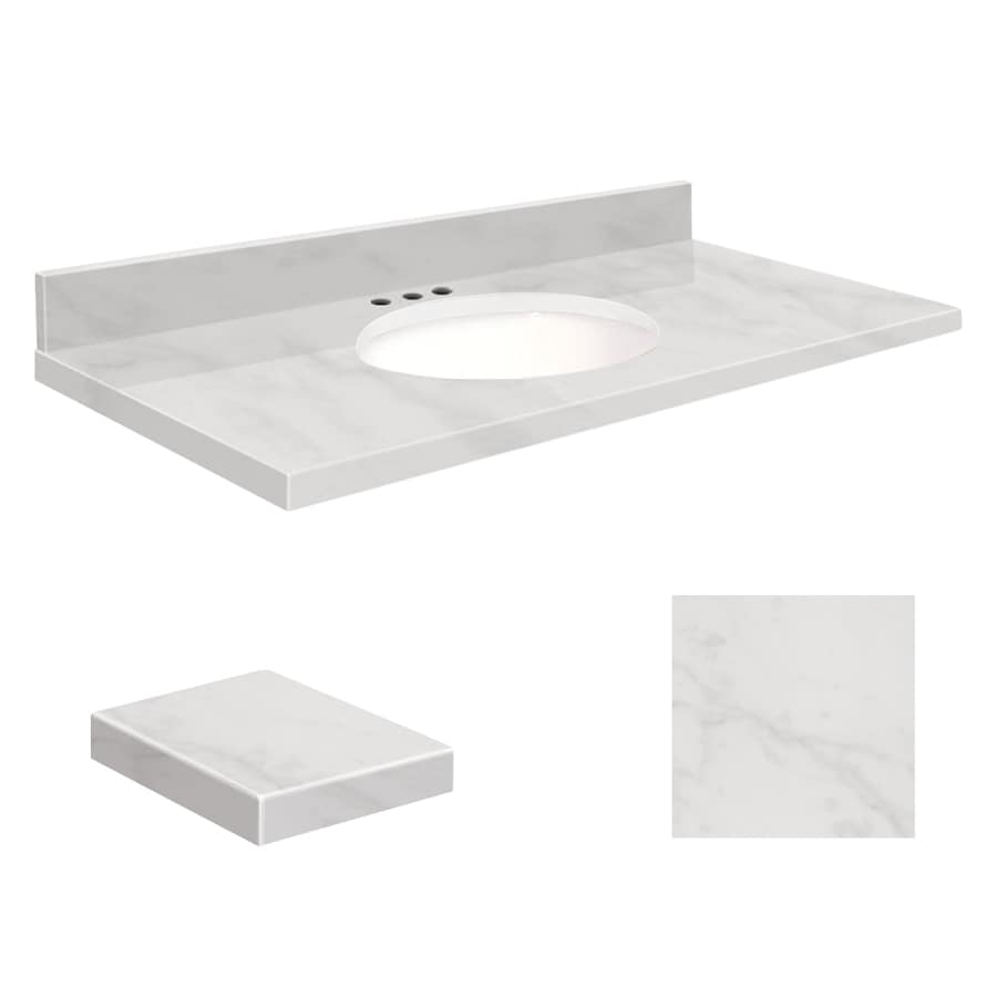 Transolid White Natural Marble Undermount Single Sink Bathroom Vanity Top (Common: 37-in x 19-in; Actual: 37-in x 19.25-in)