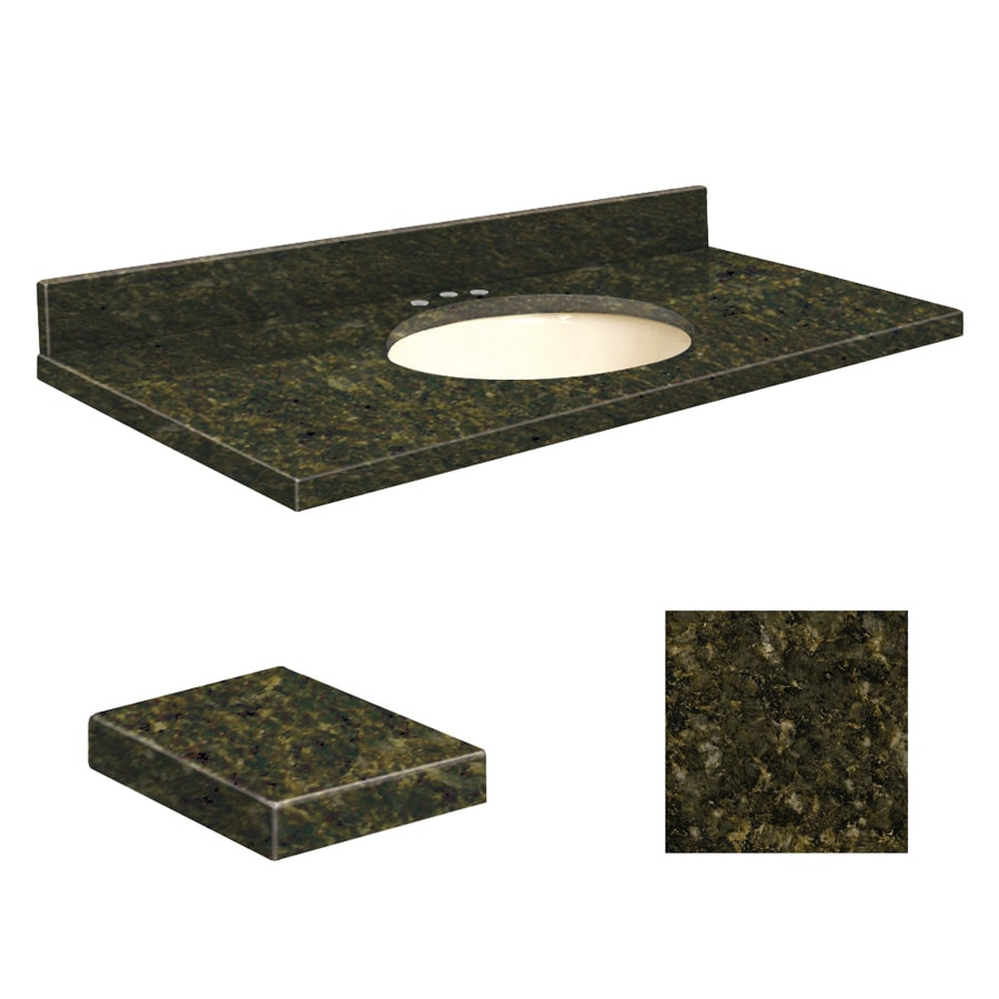 Transolid Uba Verde Granite Undermount Single Sink Bathroom Vanity Top (Common: 37-in x 22-in; Actual: 37-in x 22.25-in)