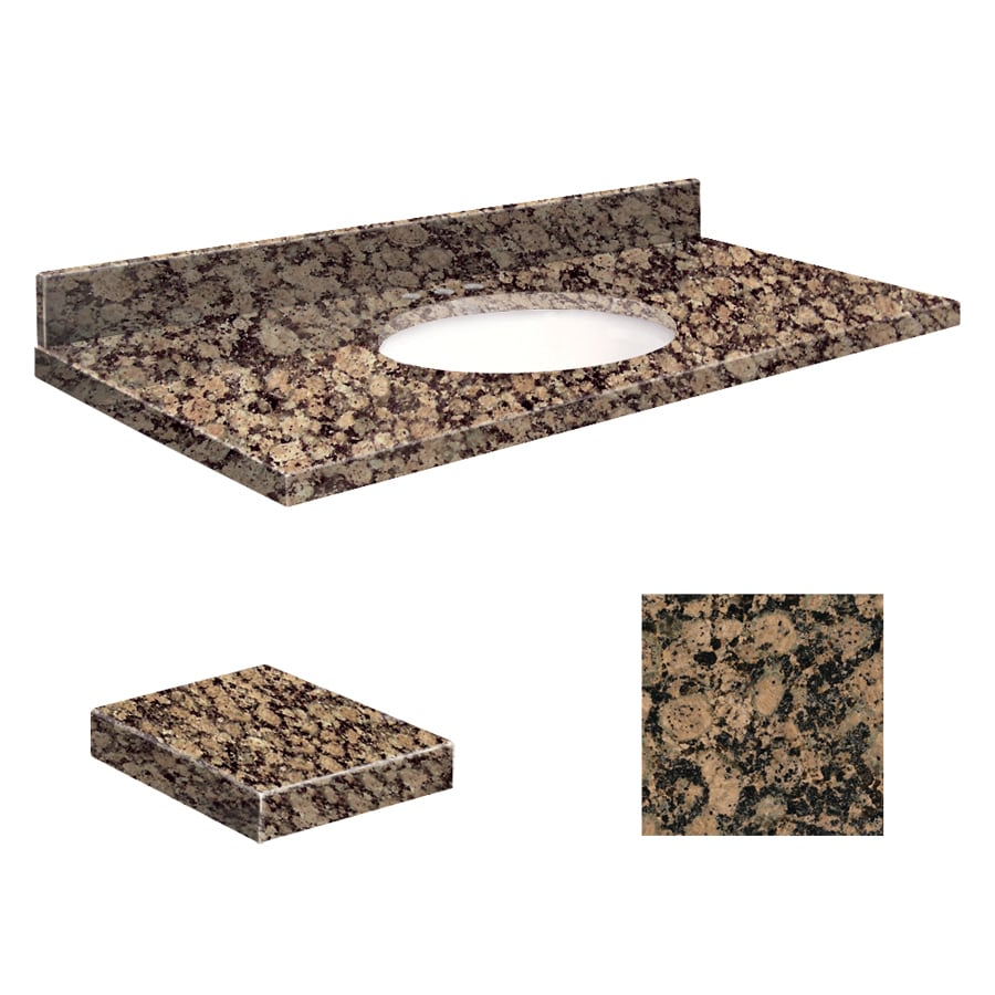 Transolid Baltic Brown Granite Undermount Single Sink Bathroom Vanity Top (Common: 37-in x 22-in; Actual: 37-in x 22.25-in)
