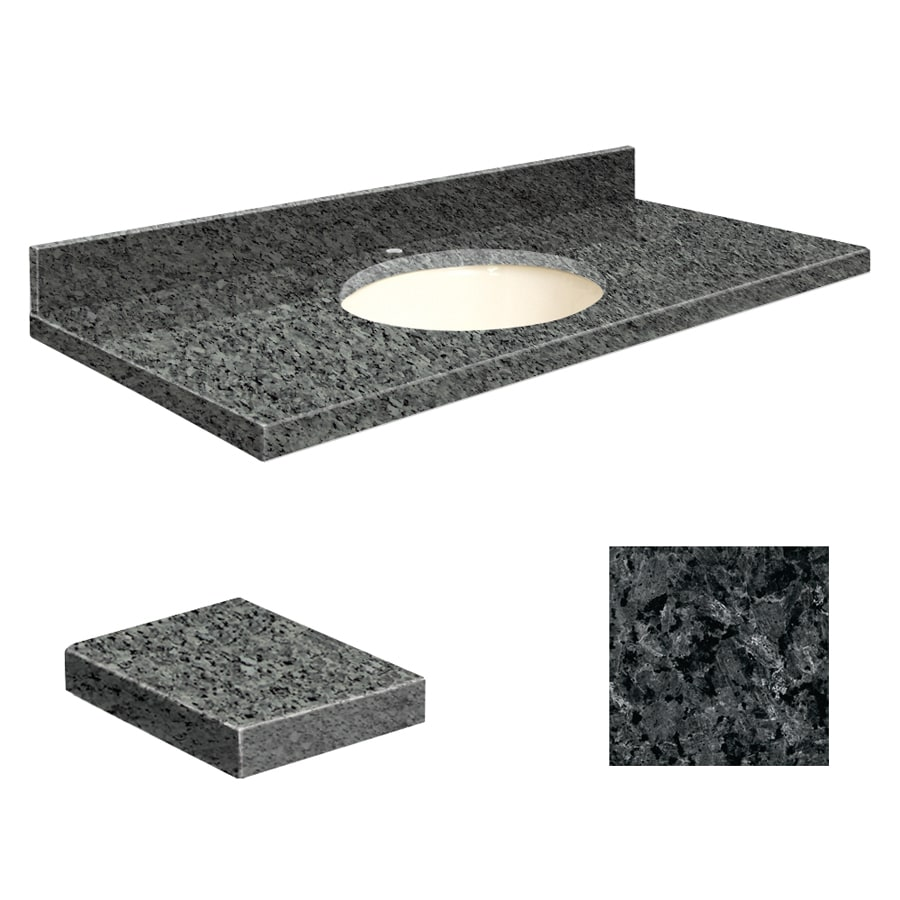 Transolid Blue Pearl Granite Undermount Single Sink Bathroom Vanity Top (Common: 37-in x 22-in; Actual: 37-in x 22.25-in)