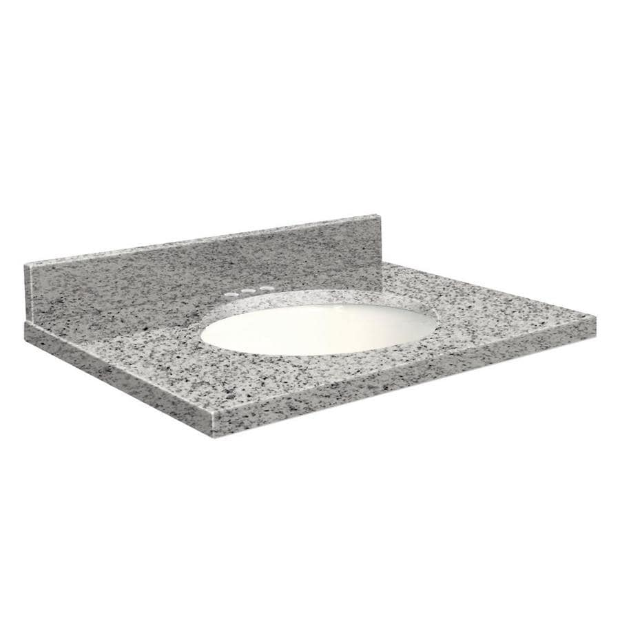 Transolid Rosselin White Granite Undermount Single Sink Bathroom Vanity Top (Common: 37-in x 22-in; Actual: 37-in x 22.25-in)