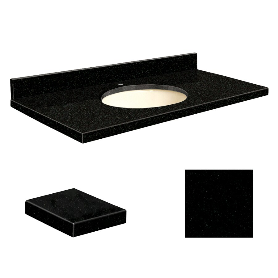 Transolid Absolute Black Granite Undermount Single Sink Bathroom Vanity Top (Common: 37-in x 22-in; Actual: 37-in x 22.25-in)