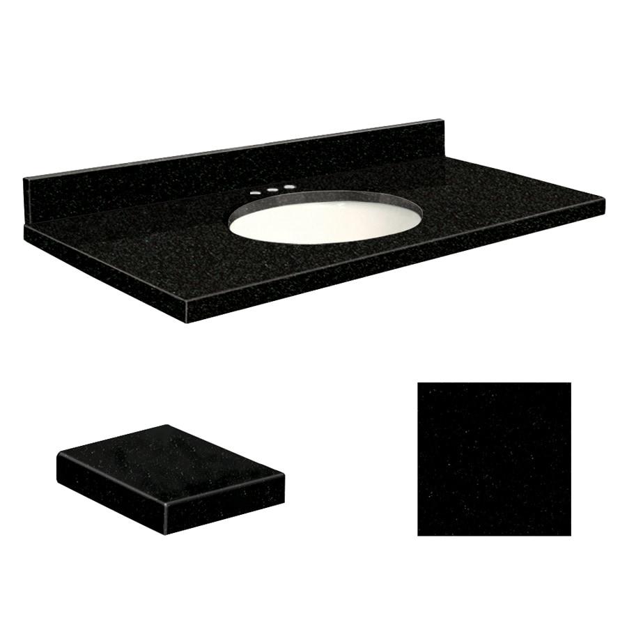 Transolid Absolute Black Granite Undermount Single Sink Bathroom Vanity Top (Common: 37-in x 22-in; Actual: 37-in x 22.2500-in)