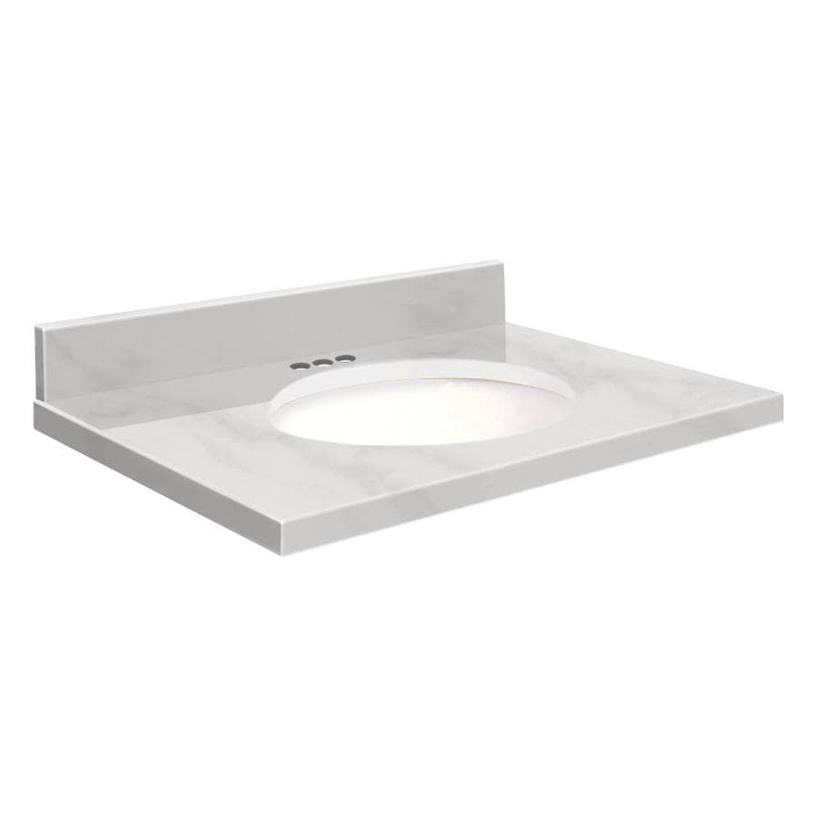 Transolid White Natural Marble Undermount Single Sink Bathroom Vanity Top (Common: 37-in x 22-in; Actual: 37-in x 22.25-in)