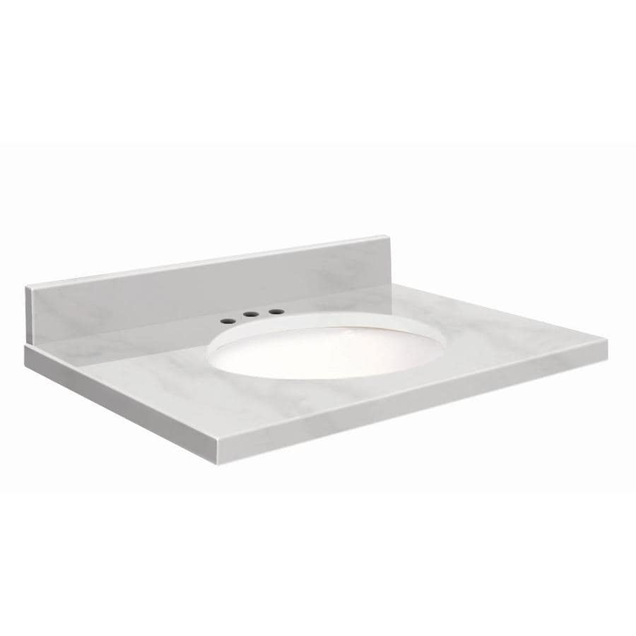 Transolid White Marble Natural Marble Undermount Single Sink Bathroom Vanity Top (Common: 37-in x 22-in; Actual: 37-in x 22.25-in)