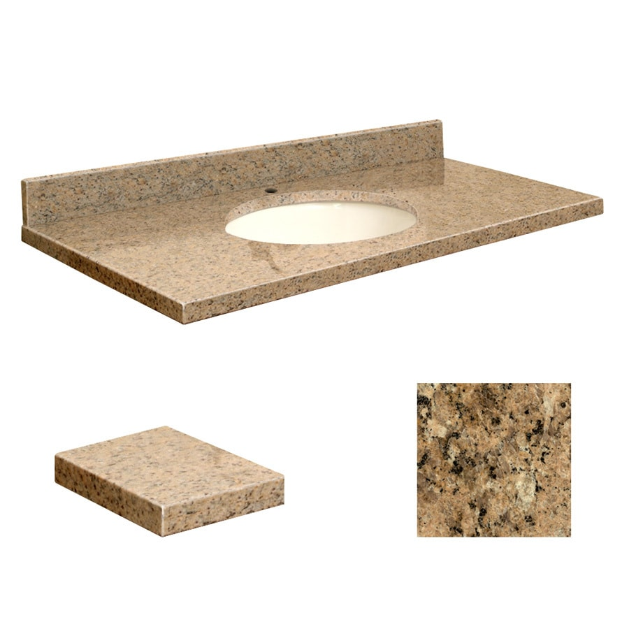 Transolid Giallo Veneziano Granite Undermount Single Sink Bathroom Vanity Top (Common: 43-in x 22-in; Actual: 43-in x 22.2500-in)