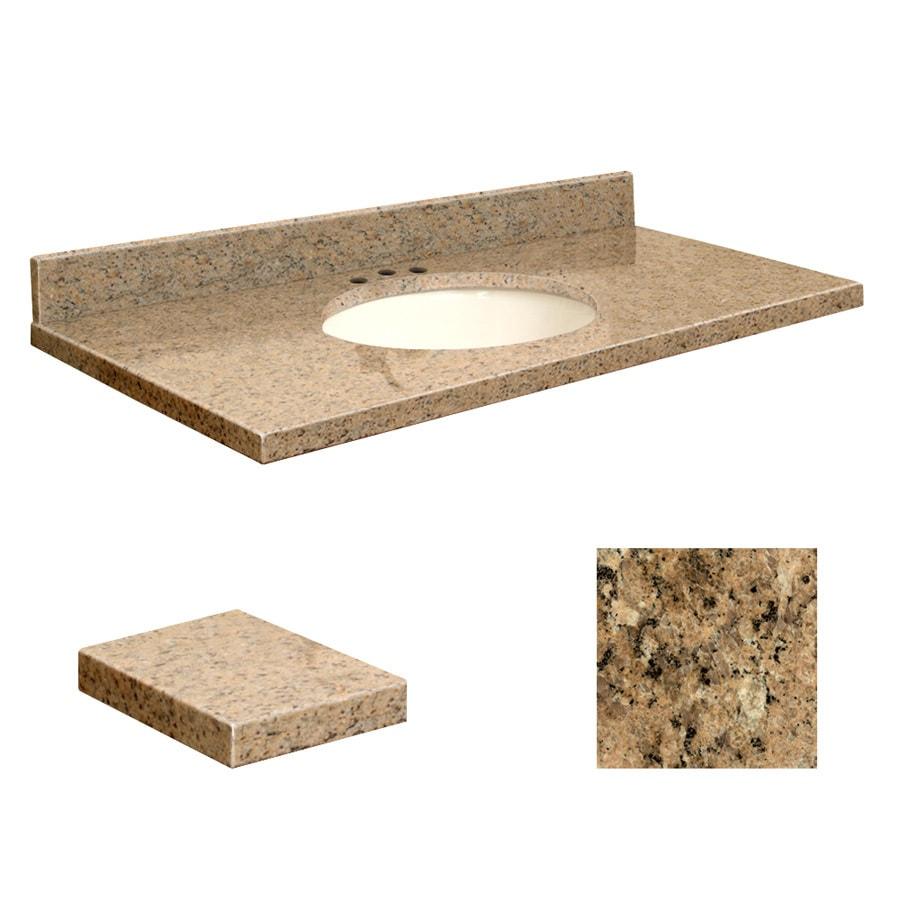 Transolid Giallo Veneziano Granite Undermount Single Sink Bathroom Vanity Top (Common: 43-in x 22-in; Actual: 43-in x 22.25-in)