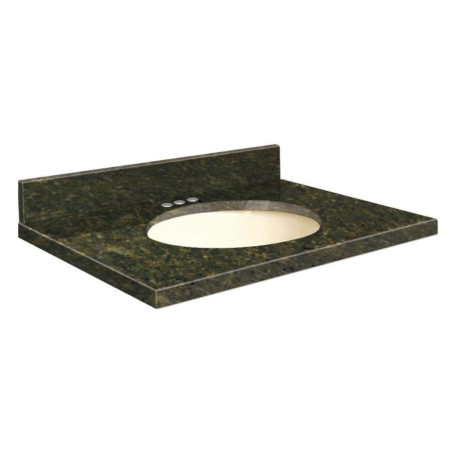 Transolid Uba Verde Granite Undermount Single Sink Bathroom Vanity Top (Common: 43-in x 22-in; Actual: 43-in x 22.2500-in)