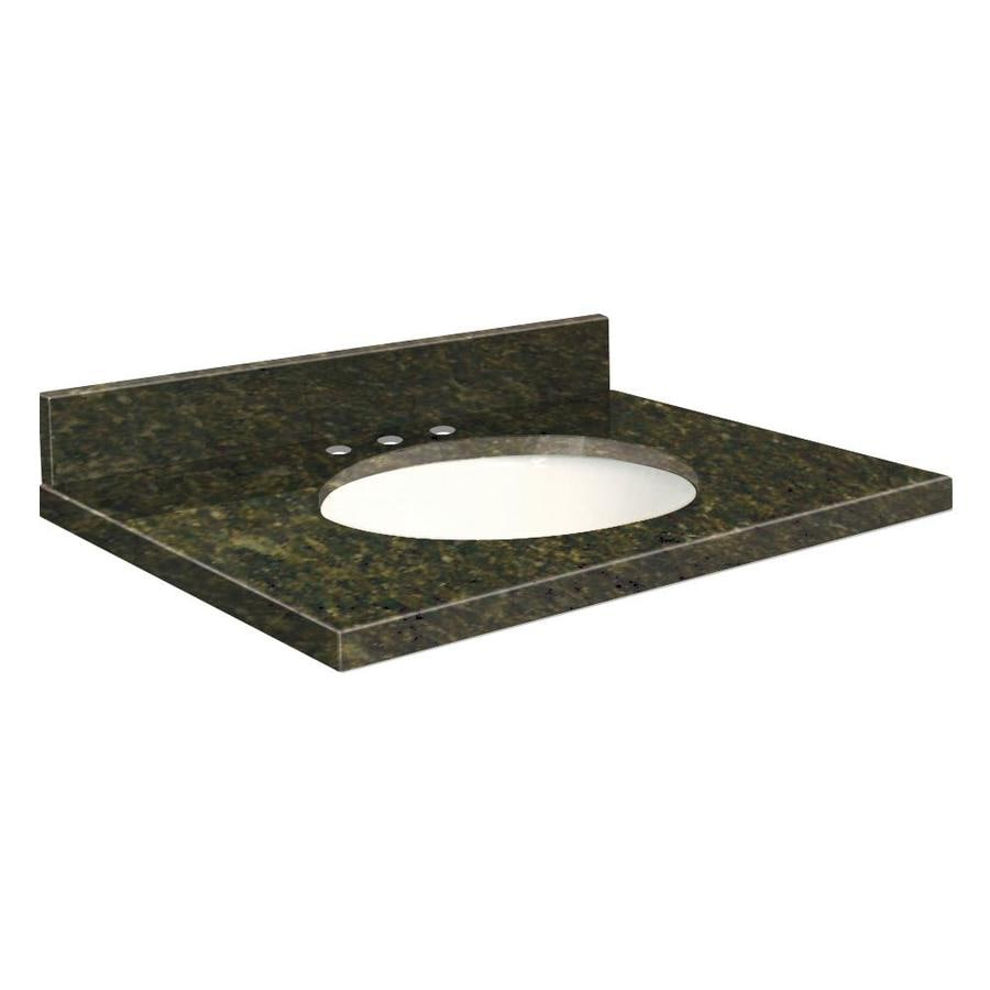Transolid Uba Verde Granite Undermount Single Sink Bathroom Vanity Top (Common: 43-in x 22-in; Actual: 43-in x 22.25-in)