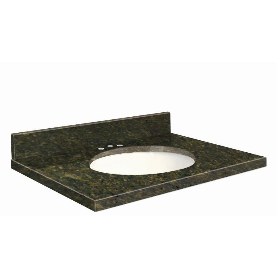 Transolid Uba Verde Granite Undermount Single Sink Bathroom Vanity Top (Common: 43-in x 22-in; Actual: 43-in x 22.25-in)