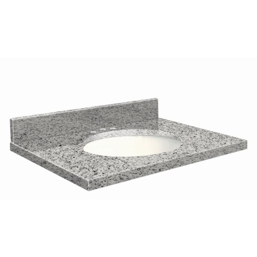 Transolid Rosselin White Granite Undermount Single Sink Bathroom Vanity Top (Common: 43-in x 22-in; Actual: 43-in x 22.25-in)