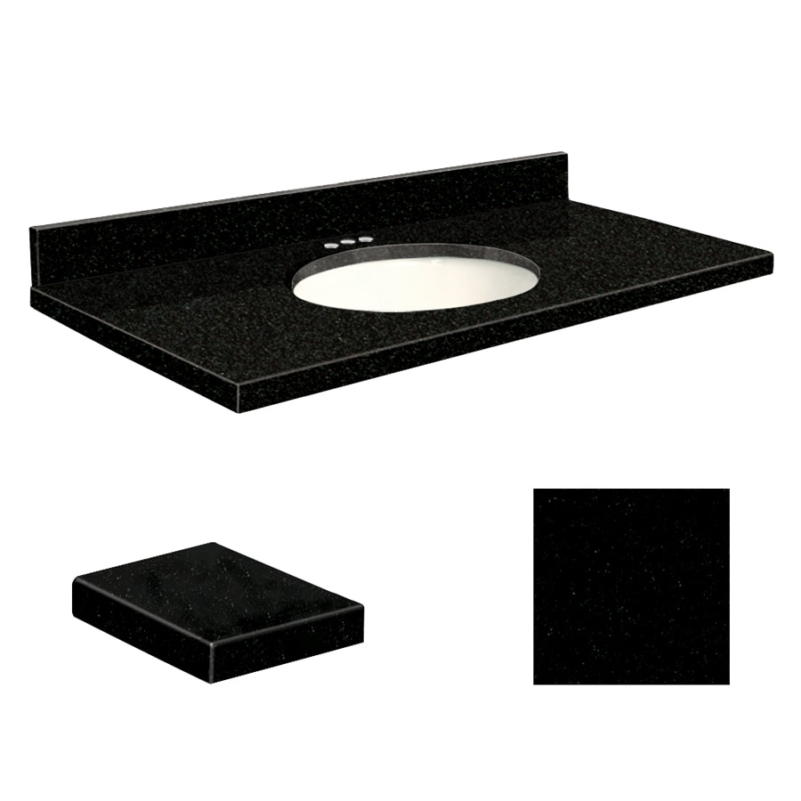 Transolid Absolute Black Granite Undermount Single Sink Bathroom Vanity Top (Common: 43-in x 22-in; Actual: 43-in x 22.25-in)