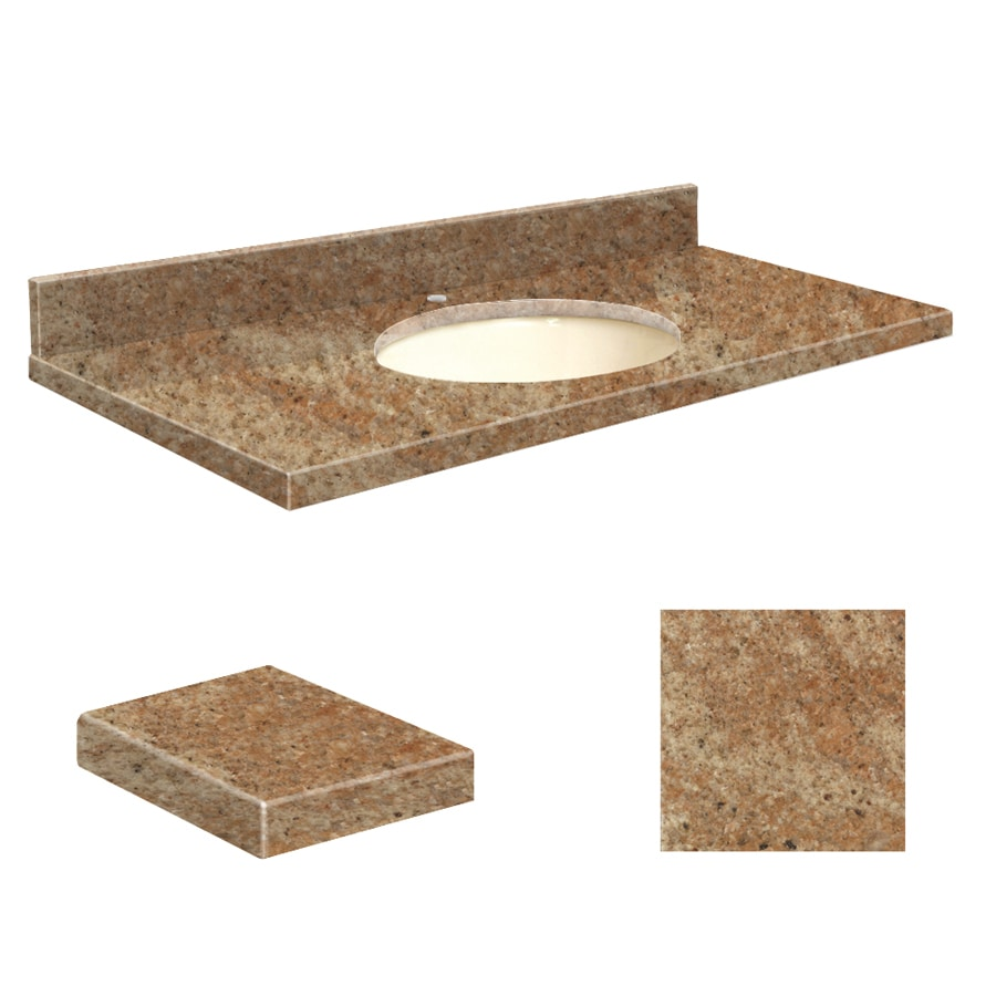 Transolid India Gold Granite Undermount Single Sink Bathroom Vanity Top (Common: 43-in x 22-in; Actual: 43-in x 22.25-in)