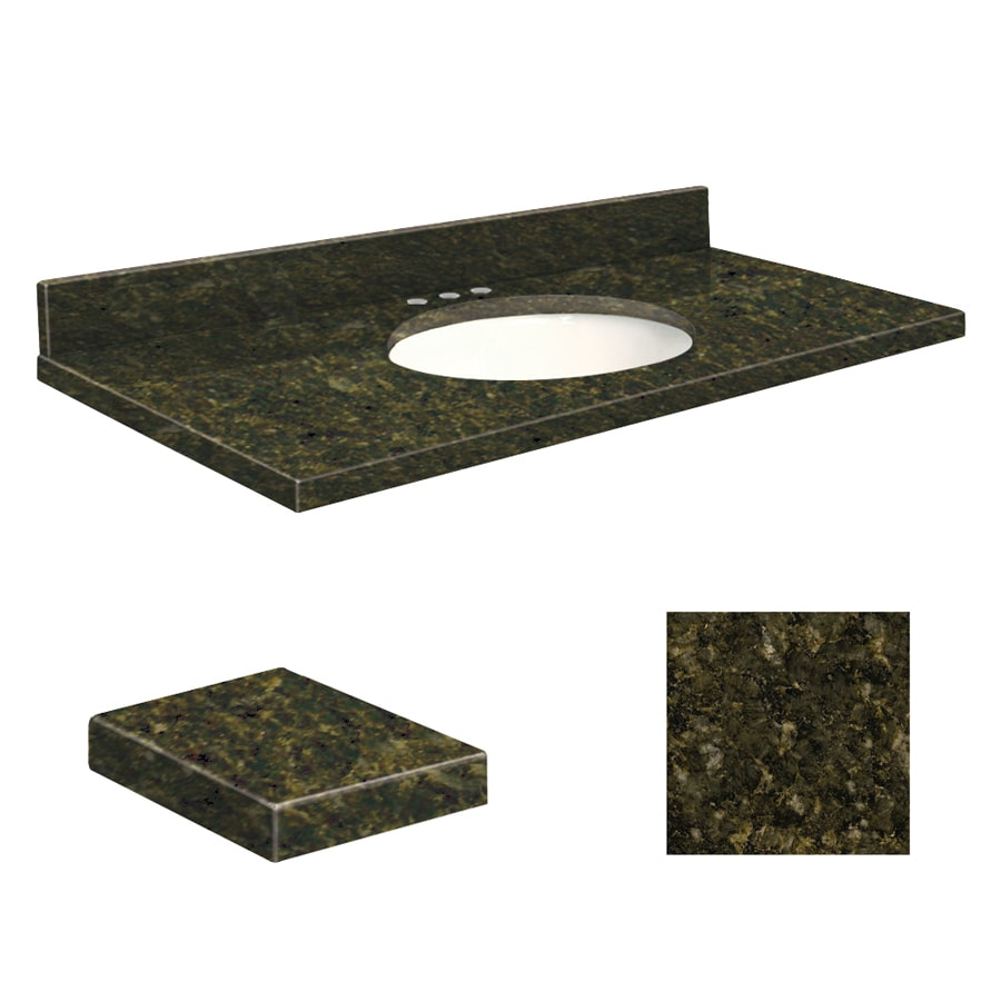 Transolid Uba Verde Granite Undermount Single Sink Bathroom Vanity Top (Common: 49-in x 19-in; Actual: 49-in x 19.2500-in)