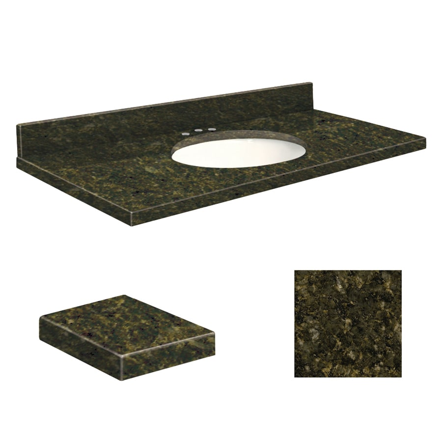 Transolid Uba Verde Granite Undermount Single Sink Bathroom Vanity Top (Common: 49-in x 19-in; Actual: 49-in x 19.25-in)